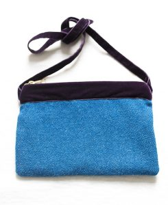 Katherine Emtage Harris Tweed peacock blue large pochette front long strap tied purple