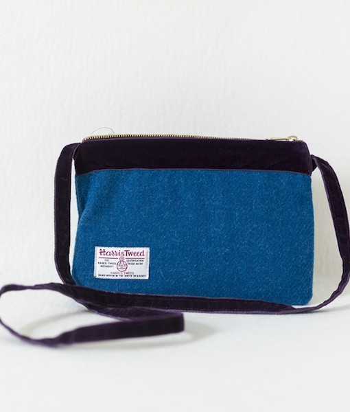 Katherine Emtage Harris Tweed peacock blue large pochette reverse long purple strap
