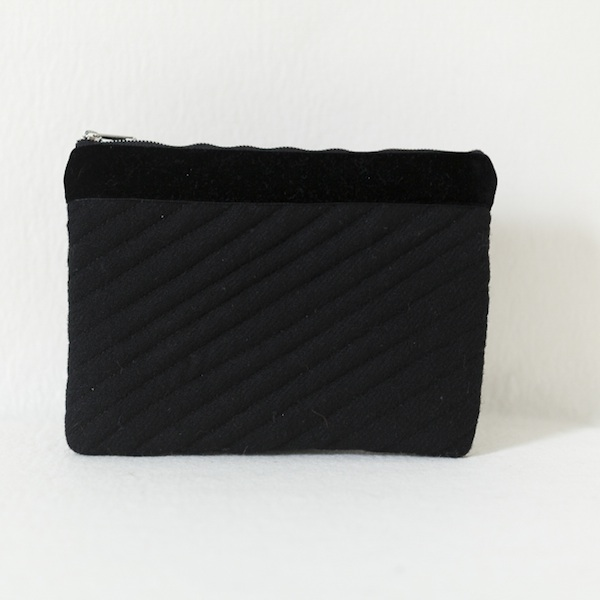 Katherine Emtage black Harris Tweed iPad clutch bag front