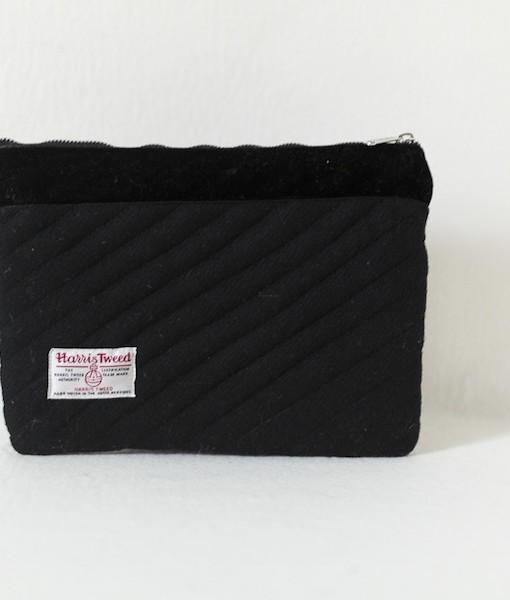 Katherine Emtage black Harris Tweed iPad clutch bag reverse