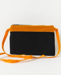 Katherine Emtage black Harris Tweed large pochette with tangerine long strap and trim front