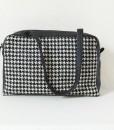 Katherine Emtage black & white houndstooth Elsie Day Bag with black leather strap down