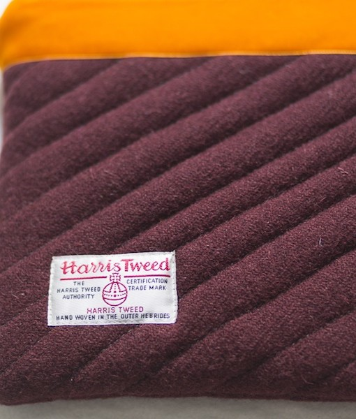 Katherine Emtage dark cherry Harris Tweed iPad clutch bag reverse detail