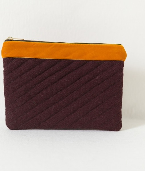 Katherine Emtage dark cherry Harris Tweed iPad clutch with tangerine trim front