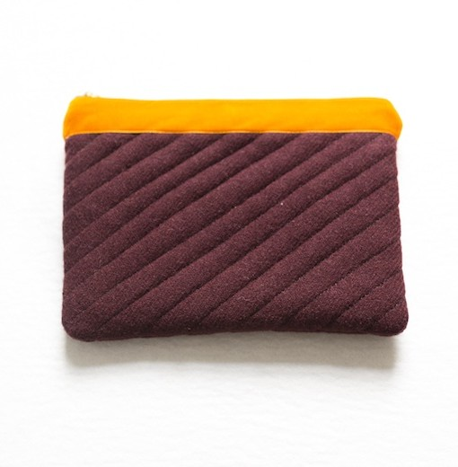 Katherine Emtage dark cherry Harris Tweed iPad clutch with tangerine trim front1