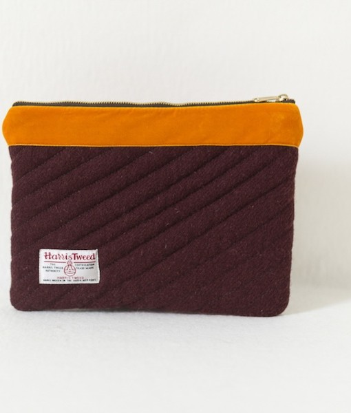 Katherine Emtage dark cherry Harris Tweed iPad clutch with tangerine velvet trim reverse
