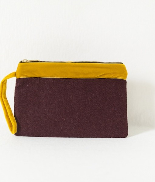 Katherine Emtage dark cherry Harris Tweed large pochette clutch bag front