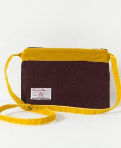 Katherine Emtage dark cherry Harris Tweed large pochette long mustard strap reverse