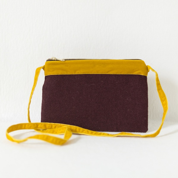 Katherine Emtage dark cherry Harris Tweed large pochette long strap mustard velvet front