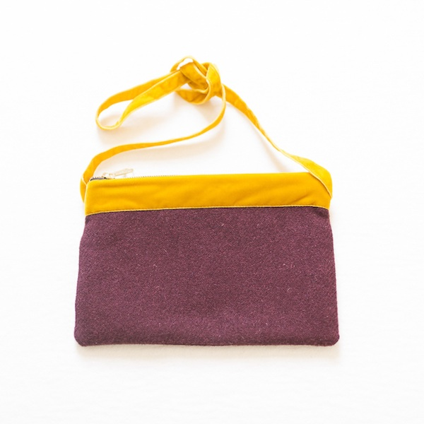 Katherine Emtage dark cherry Harris Tweed large pochette mustard long strap tied front