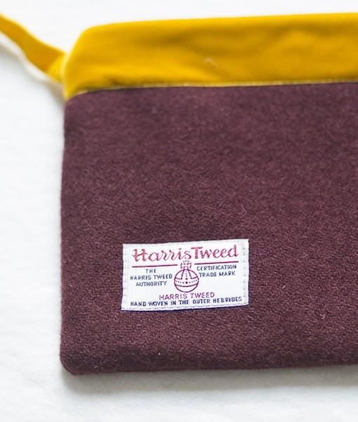 Katherine Emtage dark cherry Harris Tweed large pochette reverse detail mustard strap