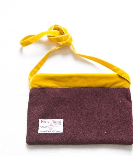 Katherine Emtage dark cherry Harris Tweed large pochette reverse mustard strap tied