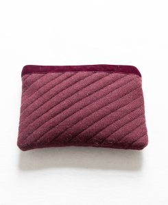 Katherine Emtage dark cherry Harris Tweed mini ipad clutch front