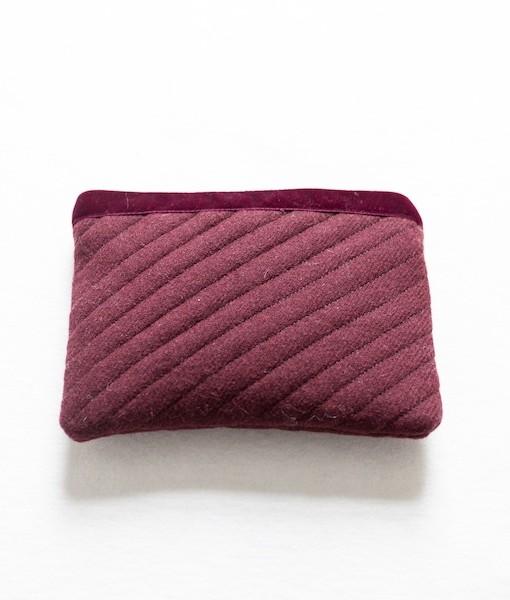 Katherine Emtage dark cherry Harris Tweed mini ipad clutch front