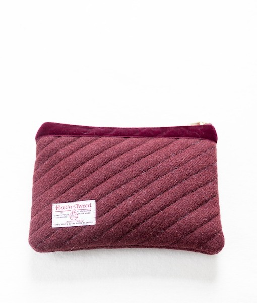 Katherine Emtage dark cherry Harris Tweed mini ipad clutch reverse 2