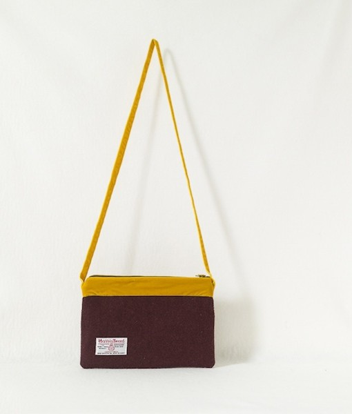 Katherine Emtage dark cherry large pochette Harris Tweed long mustard strap reverse
