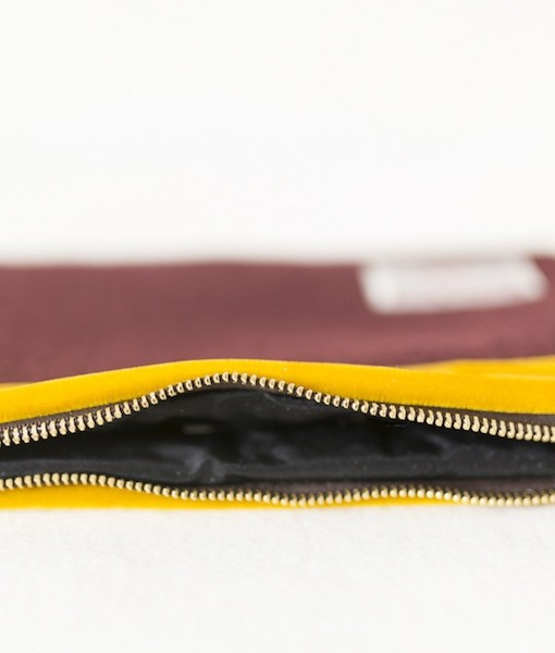 Katherine Emtage dark cherry large pochette clutch bag detail