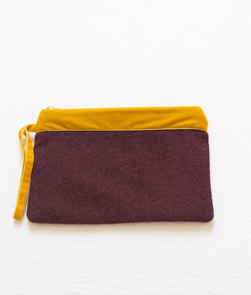 Katherine Emtage dark cherry large pochette clutch bag front strap down