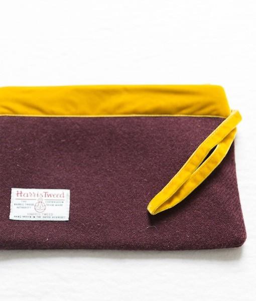 Katherine Emtage dark cherry large pochette clutch bag reverse strap