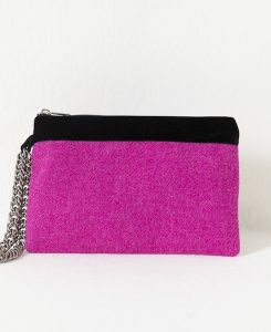 Katherine Emtage fuscha Harris Tweed large pochette limited edition metal strap front