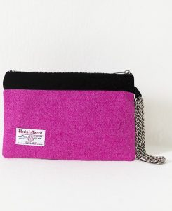 Katherine Emtage fuschia Harris Tweed large pochette limited edition metal strap reverse