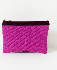 Katherine Emtage fuschia Harris Tweed mini iPad clutch bag front 1