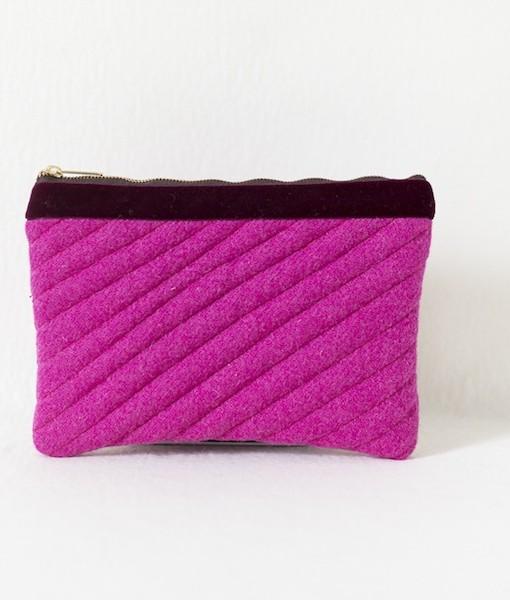 Katherine Emtage fuschia Harris Tweed mini iPad clutch bag front 1