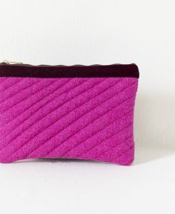 Katherine Emtage fuschia Harris Tweed mini iPad clutch bag front