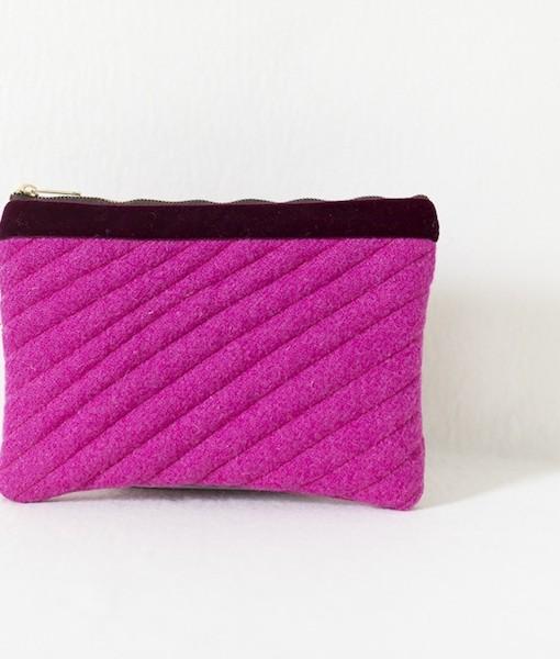 Katherine Emtage fuschia Harris Tweed mini iPad clutch bag front
