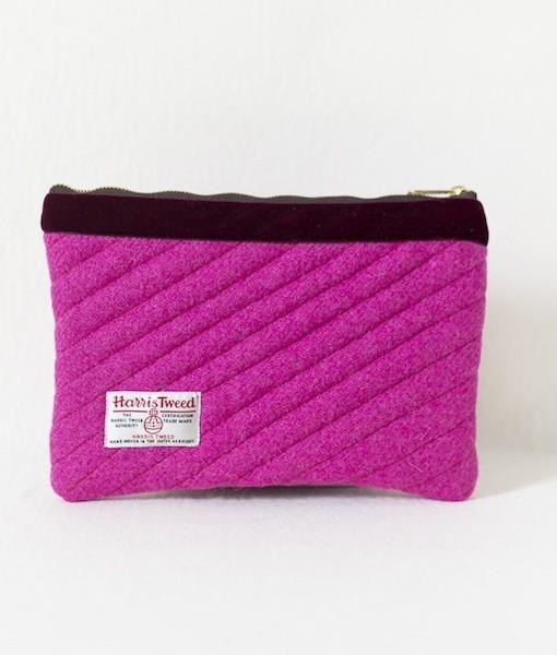 Katherine Emtage fuschia Harris Tweed mini iPad clutch bag reverse