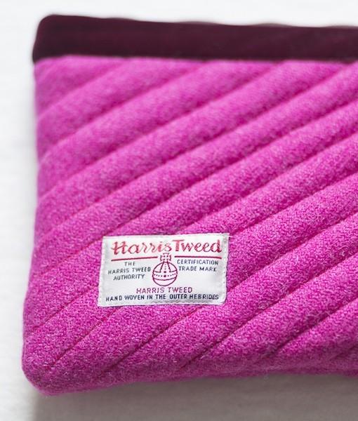 Katherine Emtage fuschia Harris Tweed mini iPad clutch bag reverse detail