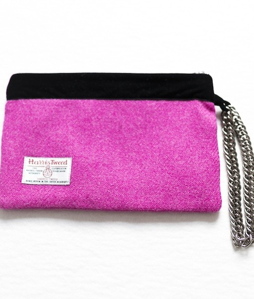 Katherine Emtage fuschia Harris tweed limited edition large pochette reverse
