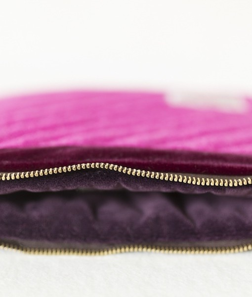 Katherine Emtage fuschia mini iPad clutch bag detail