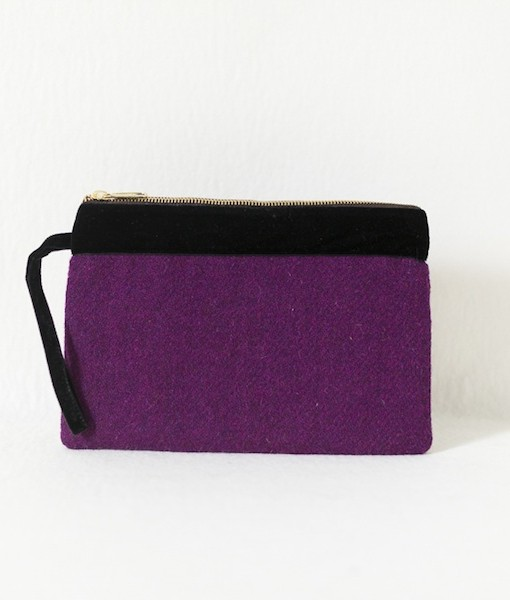 Katherine Emtage grape Harris Tweed large pochette front