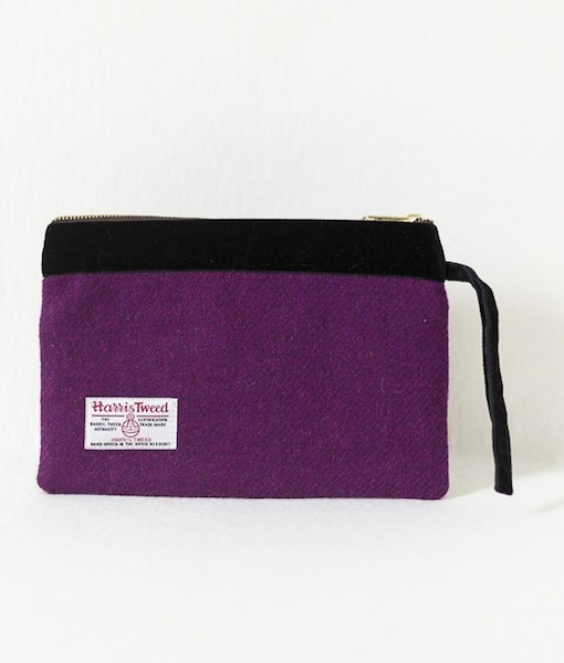 Katherine Emtage grape Harris Tweed large pochette reverse