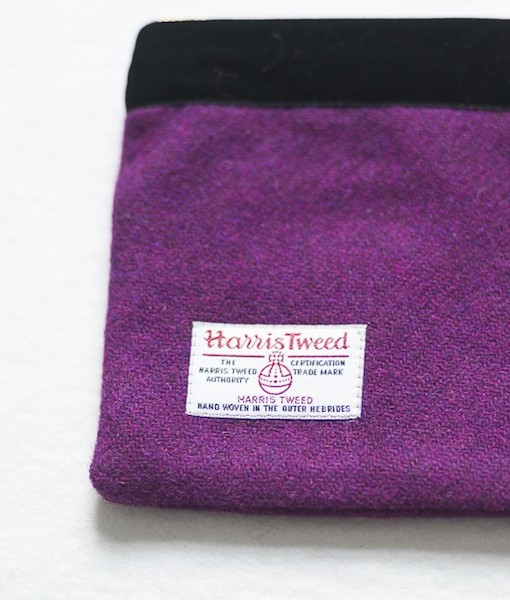 Katherine Emtage grape Harris Tweed large pochette reverse detail