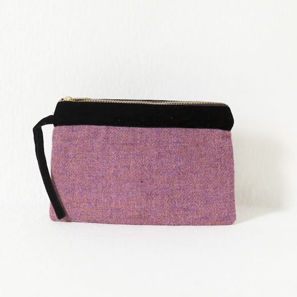 Katherine Emtage heather Harris Tweed large pochette front