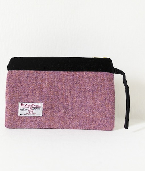 Katherine Emtage heather Harris Tweed large pochette reverse