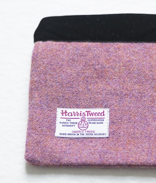 Katherine Emtage heather Harris Tweed large pochette reverse detail
