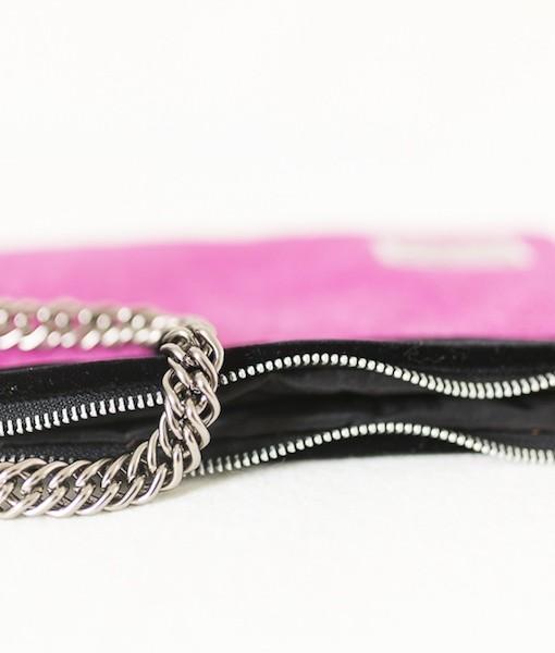 Katherine Emtage large pochette fuschia Harris Tweed limited edition chain detail