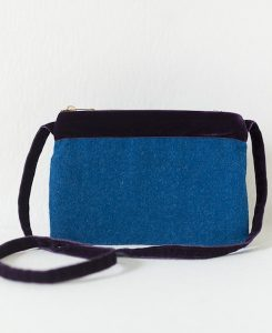 Katherine Emtage large pochette peacock blue Harris Tweed purple velvet front