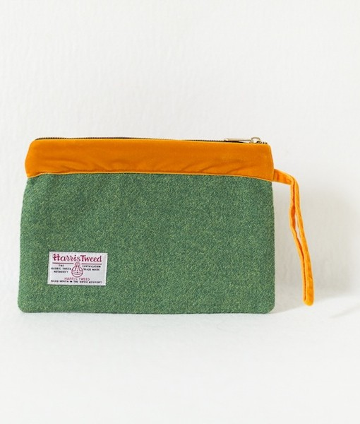 Katherine Emtage leaf green Harris Tweed large pochette with tangerine trim reverse