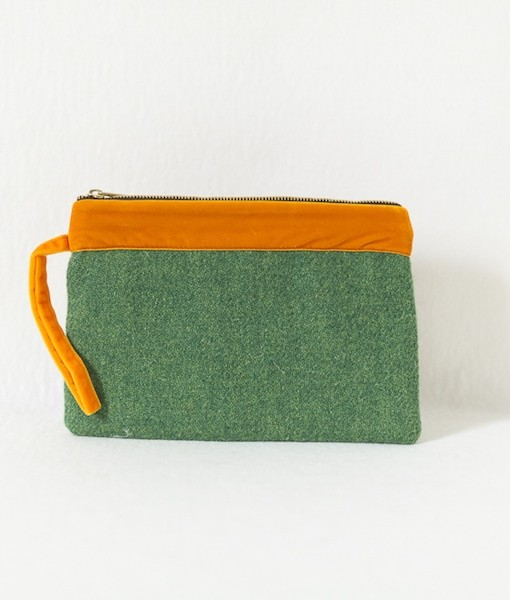 Katherine Emtage leaf green Harris tweed large pochette with tangerine trim front