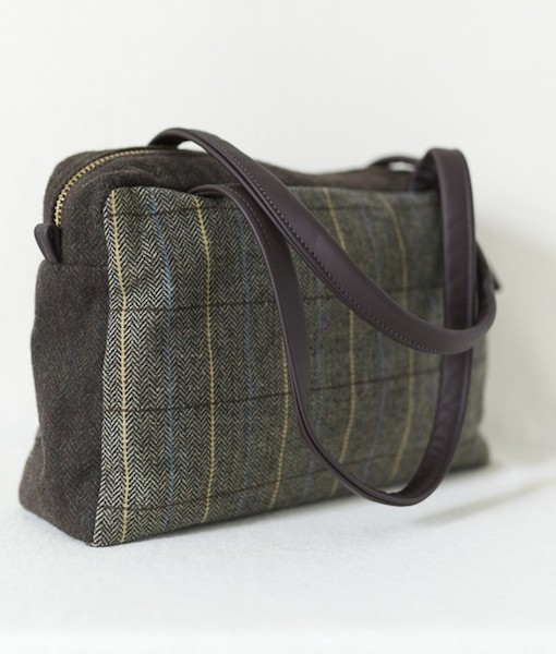 Katherine Emtage limited edition Elsie Day Bag brown herringbone check angle