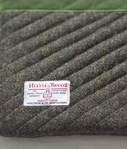 Katherine Emtage moss brown Harris Tweed iPad clutch bag reverse detail