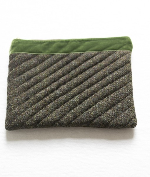 Katherine Emtage moss brown Harris Tweed iPad clutch front