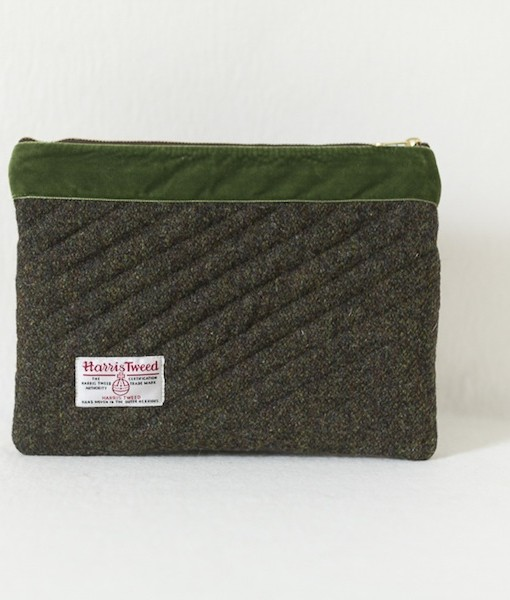 Katherine Emtage moss brown Harris Tweed iPad clutch reverse bag