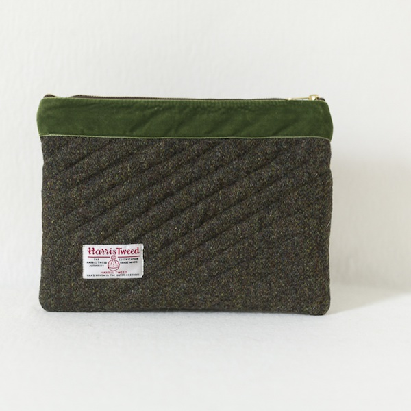 ea9267cf56 iPad Clutch - Moss Brown Harris Tweed with Olive Velvet Trim ...