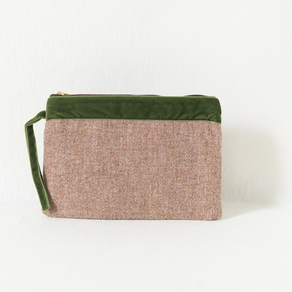 Katherine Emtage pale salmon Harris Tweed large pochette front