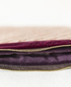 Katherine Emtage pale salmon Harris Tweed mini iPad clutch bag detail